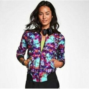 ATHLETA Floral Fade Bomber Jacket
